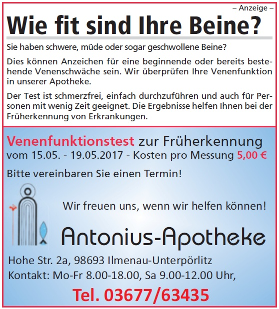 Venenfunktionstest in der Antonius Apotheke in Ilmenau Unterpörlitz